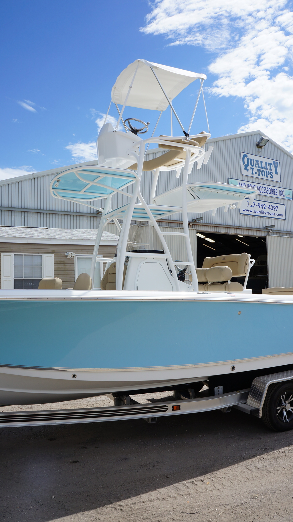 sea hunt, tower, console tower, bimini, powder coat
